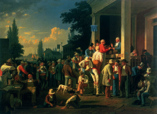 """George Caleb Bingham - The County Election (1852) 18""""x24"""" Canvas Art Poster"""