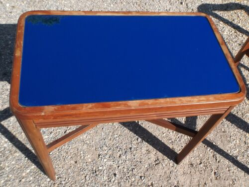 Vintage Blue Mirror End/SideTable/Stand Art Deco Mid-Century Modern #2