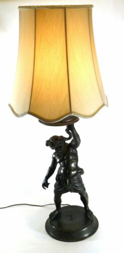 Artfully crafted brass lamp, depicting Ophiuchus with snake in hand – 39″ Tall
