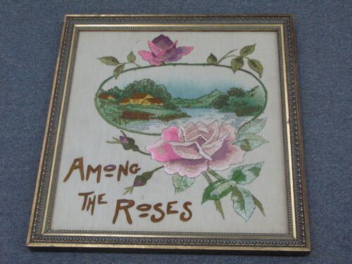"""Vintage Fine Hand Embroidery Linen Roses Needlework Arts & Crafts 18"""" x 19"""""""
