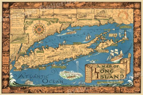 1933 Long Island NY Classic Pictorial Historic Map - 16x24