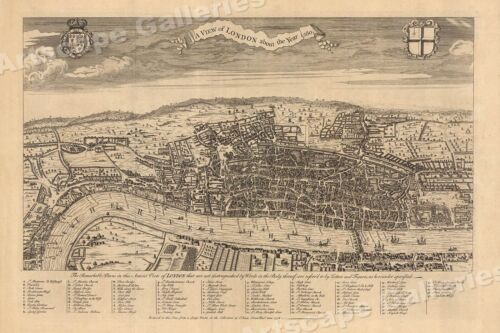 View of London 1560 Historic Old Map - 20x30