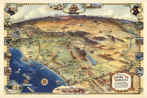 1946 Roads to Romance Southern California Old Map - 20x30