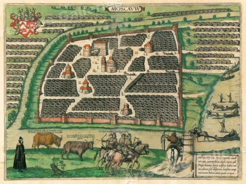 1556 Map of Moscow Russian Historic Map - 20x28