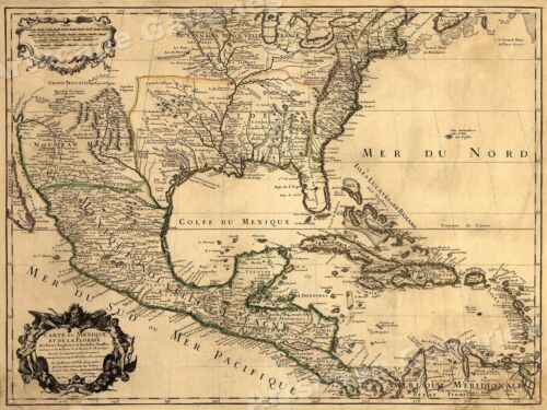 1700s New World Spanish Colonies Old Map - 20x28