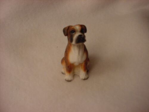 BOXER brindle puppy TiNY Dog FIGURINE Resin MINIATURE Mini Statue UNCROPPED New