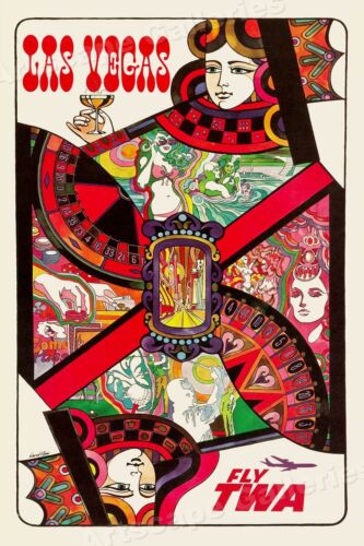 "1960s ""Las Vegas TWA"" Playing Card Vintage Style Travel Poster - 16x24"