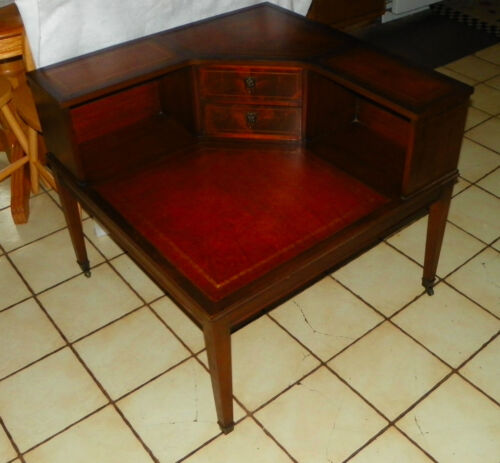 Mahogany Hepplewhite Leather Top Corner Table / End Table  (T470)