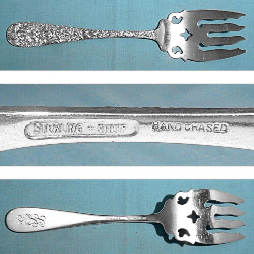 """STIEFF STERLING 8 3/4"""" HAND CHASED SERVING FORK ~ PRINCESS ~ MONO ESS"""