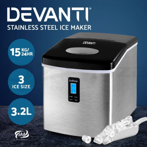 Devanti Ice Maker Machine Commercial Stainless Steel Portable Ice Cube Tray 3.2L <br/> 9 Cubes / LCD Display / Quiet Operation / Energy Saving