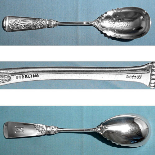 GORHAM STERLING LARGE BRIGHT CUT JELLY SPOON ~ FONTAINEBLEAU ~ MONO N
