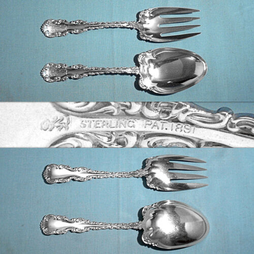 WHITING MFG STERLING SOLID SALAD SERVING SET~ LOUIS XV ~ MONO RVL