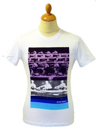 SALE! PETER WERTH 'ROWING' RETRO ATHLETIC GRAPHIC T-SHIRT (WHITE) small - h159