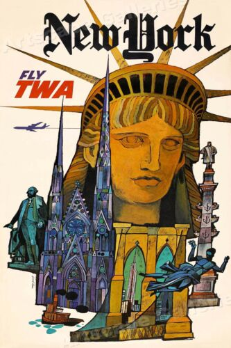 Visit Israel 1960s TWA Vintage Style Airline Travel Poster 16x24