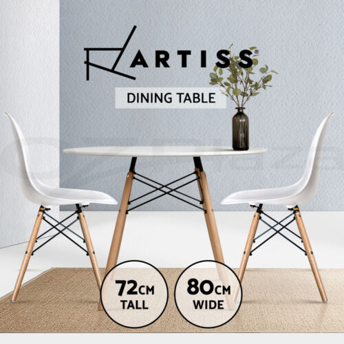 Artiss Replica Eames DSW Eiffel Dining Table Kitchen Coffee Wooden White Round <br/> Best Seller! Premium Quality, Fast Delivery, Buy It Now