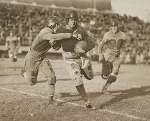 """1920 Football Game, Vintage college Sports, 14""""x11"""" Photo, Up Close tackle"""