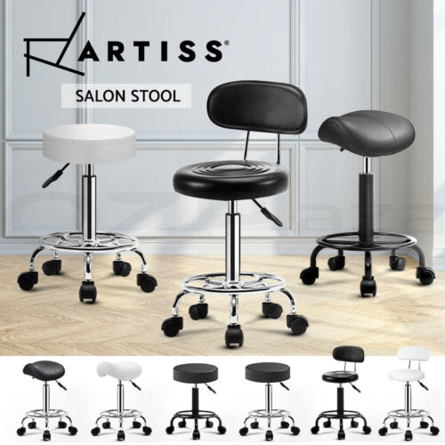 Artiss Salon Stool Swivel Barber Hairdressing  SADDLE ROUND Chair Hydraulic Lift <br/> ✔SGS Tested Gas Lift✔360°Swivel✔Fast Dispatch