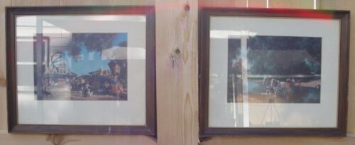 """1961 PAIR OF PAUL DETLEFSEN MATTED PRINTS """"DAYS GONE BY"""" & """"THE BIG MOMENT"""" NICE"""