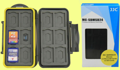 WATERPROOF WATER-RESISTANT CASE HOLDER STORAGE apt to 24: 12 SD+12 MICRO SD CARD