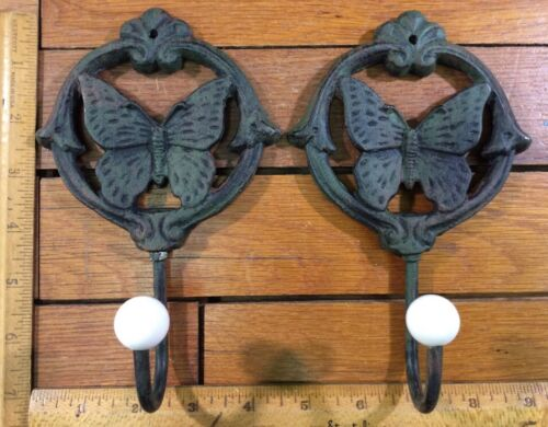 "2 BUTTERFLY COAT HOOKS 7"" Cast Iron Rustic Antique Vintage Style Wall Hat Rack"