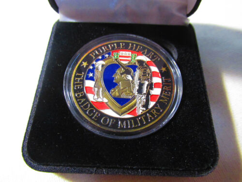 PURPLE HEART - BADGE OF MILITARY MERIT Challenge Coin w/ Presentation BoxChallenge Coins - 74710