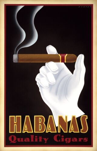 VINTAGE CIGAR ART PRINT - Habanas Quality Cigars by Steve Forney 22x34 Poster