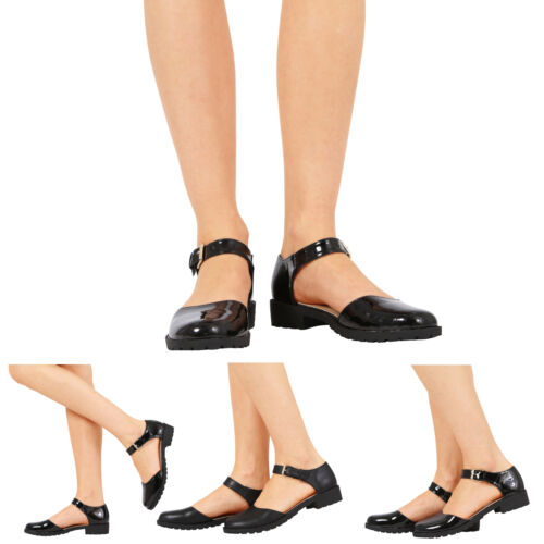 WOMENS LADIES GIRLS FLAT LOW HEEL ANKLE BUCKLE STRAP SANDALS SHOES SIZE 13-8