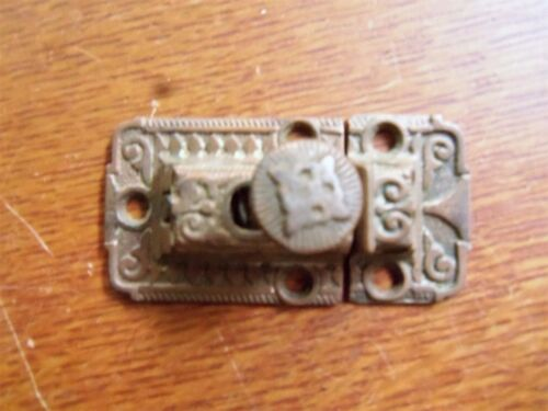 Antique Fancy Victorian Brass-Plated Cabinet Latch c1885 - Rare