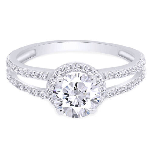 2.53 Ct Brilliant Round cut Diamond Halo Engagement Ring 14K SOLID White GOLD