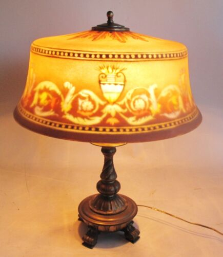 Large Antique Signed Pairpoint Reverse Painted Art Glass Lamp w/ Original Base