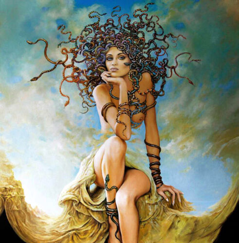 Wall Oil Painting Print Picture Surreal snake woman on canvas 16x16 Inches L805