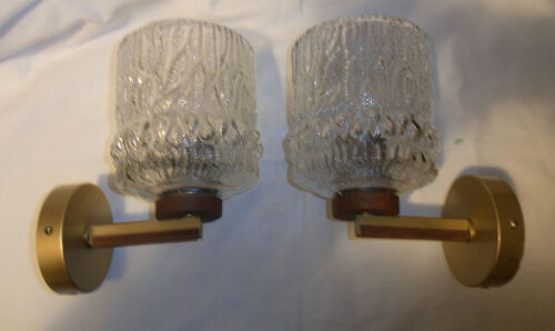 Pair Mid Century 60´s  German Teak & Glass  Wall Lamp Sconces #O/G