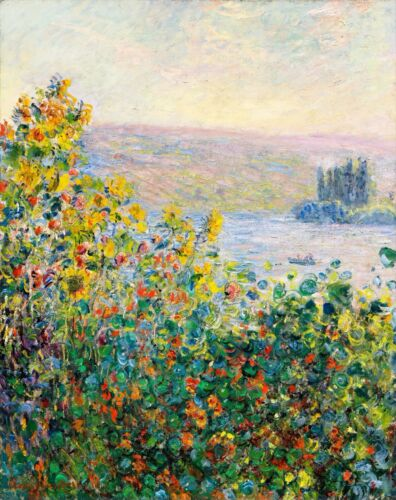 Flower Beds at Vétheuil by Claude Monet Giclee Museum Size Repro on Canvas