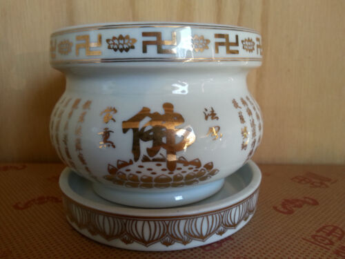 "Collection chinese Buddha Porcelain incense burner Bowl 4"" w"