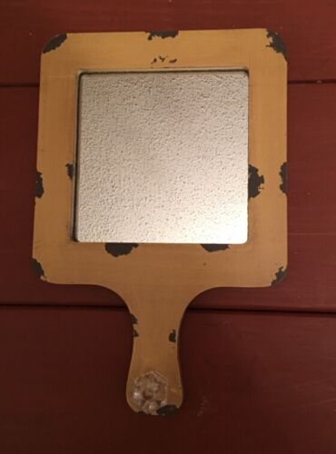 Primitive Distressed New Mirror With Hooks On Back For Hanging