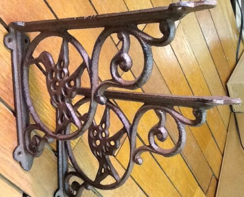 2 HUMMING BIRD SHELF BRACKETS Wall rustic cast iron antique style 6-1/2x8-3/4