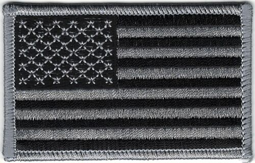 Urban Black Gray Grey United States US Flag Patch VELCRO® BRAND Hook Fastener