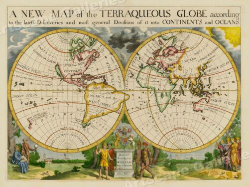 1700 A New Map of the Terraqueous Globe Historic Vintage Style Wall Map - 18x24