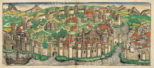 Constantinople (Istanbul) Turkey 1490's Vintage Style City Map - 10x24