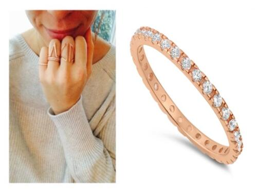 .925 Silver Rose Gold 2 mm CZ Eternity Stackable Wedding Ring Band Size 4-10