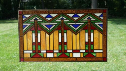 Handcrafted Stained Glass Window Panel Mission Style Panel, 34.5