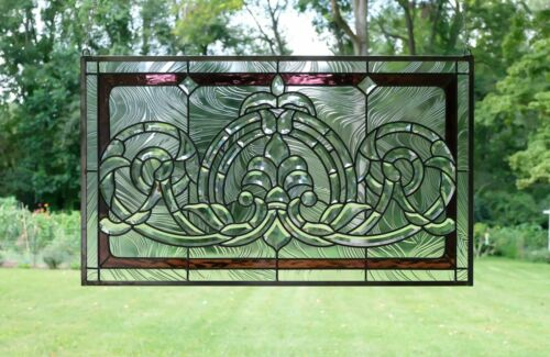 "Handcrafted stained glass Clear Beveled window panel 34""W x 20.5""H"