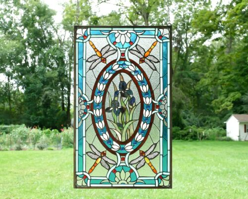 "Handcrafted stained glass window panel Dragonfly & Iris Flowers, 20.5"" x 34.75"""
