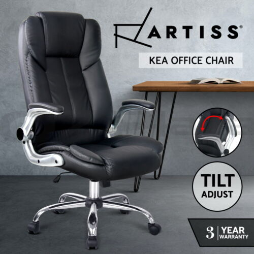 Artiss Office Chair Gaming Executive Computer Chairs Leather Seating Black <br/> Quality PU Leather / Tilt Adjustment / 3-Yr Warranty