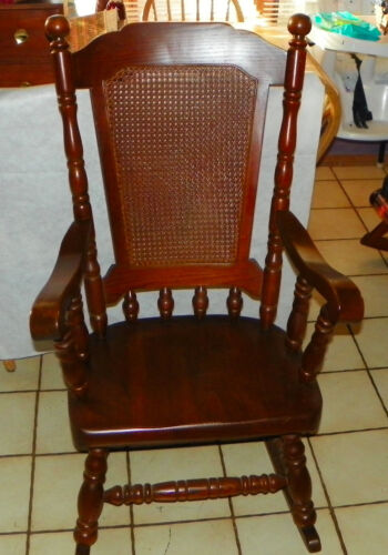 Solid Oak Cane Back Rocker / Rocking Chair by Virginia House  (R203)