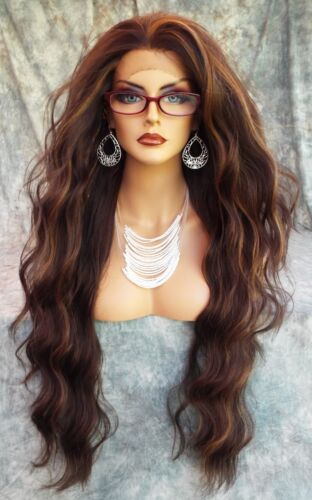 LACE FRONT WIG WAVY LONG WAVY  GORGEOUS COLOR #FS4.27 NEW/TAGS USA SELLER 402