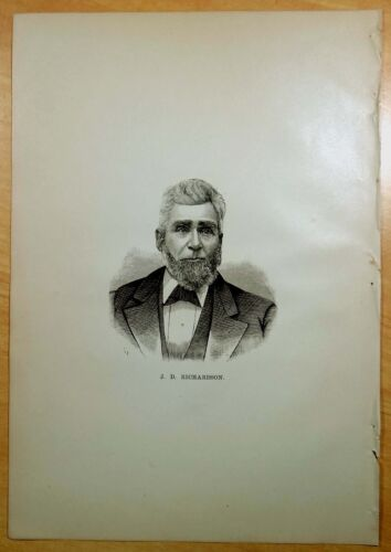 Antique Print 1882 JEREMIAH D.RICHARDSON Rochester, NH New Hampshire PORTRAIT
