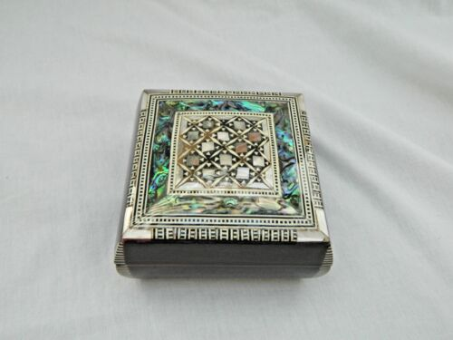 "Egyptian Inlaid Wooden Square Mother of Pearl Paua Unique Jewelry Box 3.75"" #702"