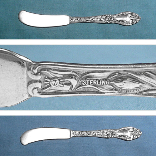 FRANK WHITING STERLING FLAT HANDLE BUTTER SPREADER(S) ~ LILY / FLORAL ~ NO MONO