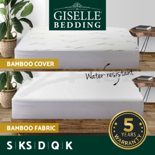 Giselle Bedding All Size Waterproof Cotton Bamboo Fibre Mattress Protector Cover <br/> Anti-bacterial - Anti-dustmite - Machine Washable